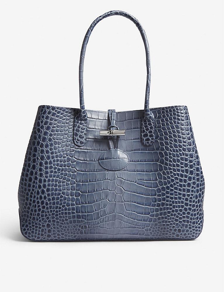 LONGCHAMP - Roseau crocodile-embossed leather tote | Selfridges.com