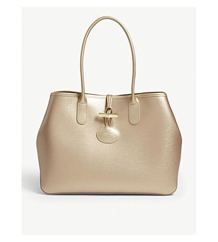 LONGCHAMP Roseau metallic leather shoulder tote bag (Pink+gold d001a6a5259be