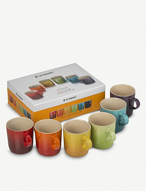 LE CREUSET Rainbow ceramic mugs set of six