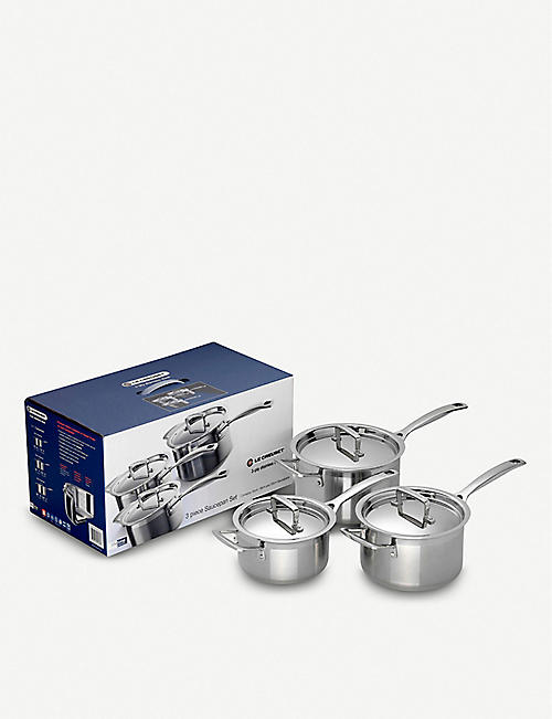 LE CREUSET: Set of three 3-Ply stainless steel saucepans