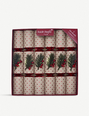 CHRISTMAS Berry and glitter spot Christmas crackers 6-pack
