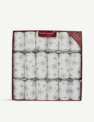 CHRISTMAS Silver Sparkler Christmas crackers set of 12