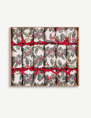 CRACKERS Holly print Christmas crackers pack of six