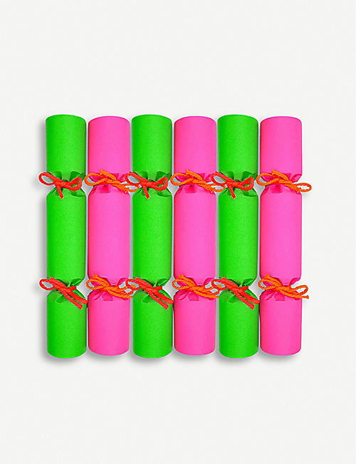 CRACKERS Neon Christmas crackers set of six