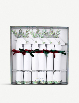 MERI MERI Silver reindeer Christmas crackers box of six