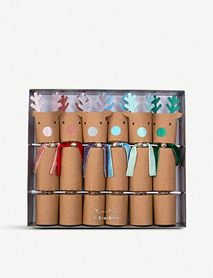 MERI MERI Rainbow reindeer Christmas crackers box of six