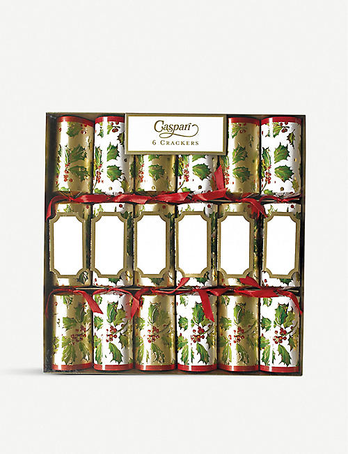 CASPARI Pack of 6 Gilded Holly crackers