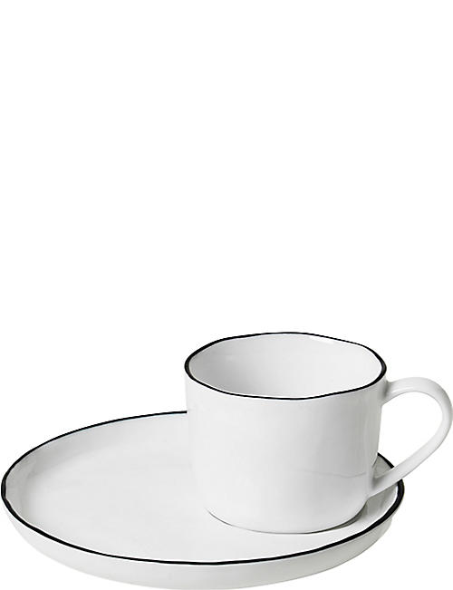 BROSTE: Salt porcelain cup and saucer