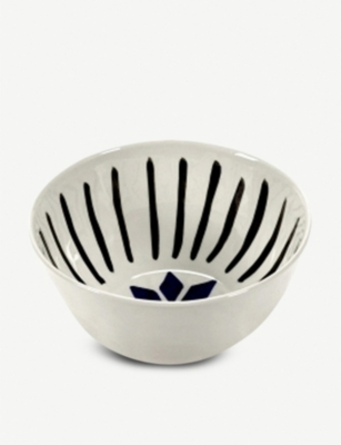 SERAX Blue Is The New Black graphic porcelain bowl 17cm