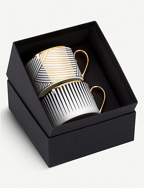 1882 Lustre boxed fine bone china coffee cup set 10cm