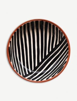 CASA CUBISTA Criss-cross striped ceramic bowl 15.5cm