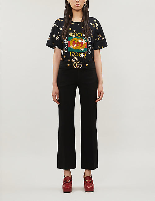 GUCCI Logo and metallic star-print cotton-jersey T-shirt