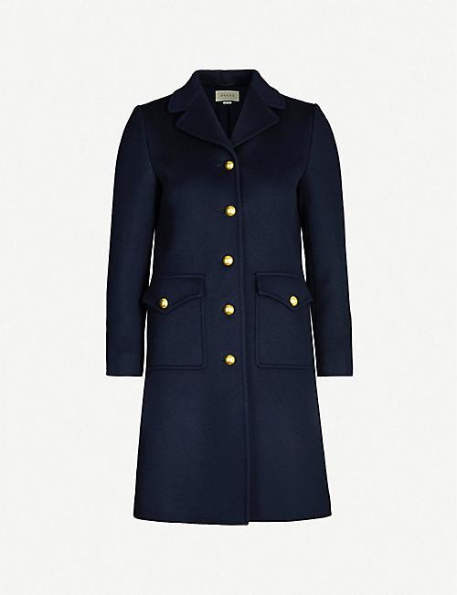 6aaa2d7a5a14 GUCCI GG belt-back single-breasted wool coat