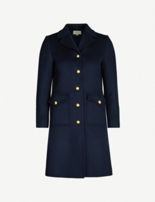 GUCCI GG belt-back single-breasted wool coat