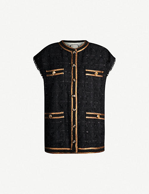 e1eb57a4d16 GUCCI Sleeveless metallic-tweed jacket