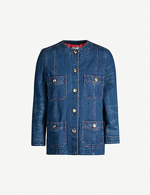 55d3fc669 GUCCI Round-neck buttoned-down denim jacket