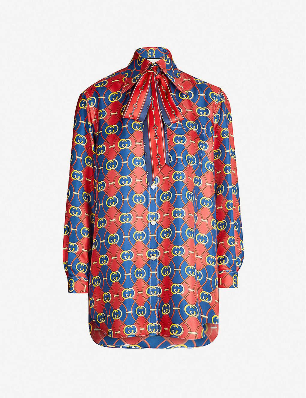 a203c68691f GUCCI - Pussybow logo-print silk shirt