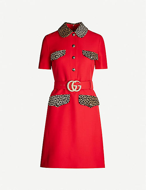 GUCCI Leopard-trim wool and silk-blend dress