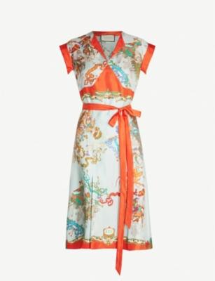 GUCCI Floral-print silk-twill dress