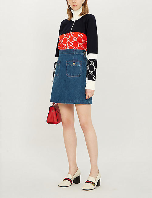 GUCCI A-line denim skirt