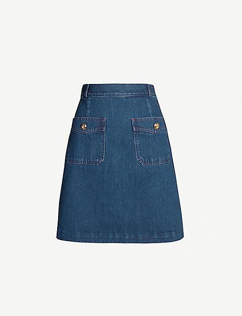 c38d13cf4 GUCCI A-line denim skirt