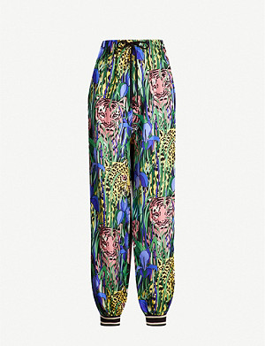 GUCCI Tiger floral-print straight-leg silk-satin trousers