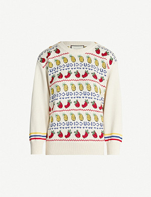 GUCCI Fruit-intarsia Fair Isle-knit cotton and wool-blend jumper