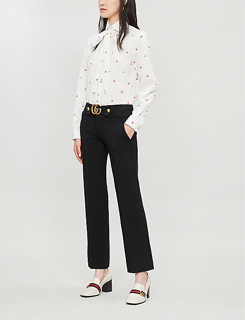GUCCI Pussy-bow cherry-print cotton shirt