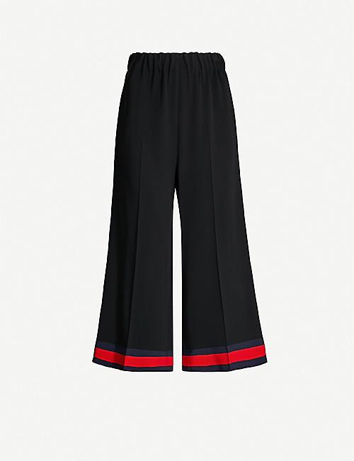 a904d17b9 GUCCI Web-stripe wide-leg cropped stretch-cady trousers