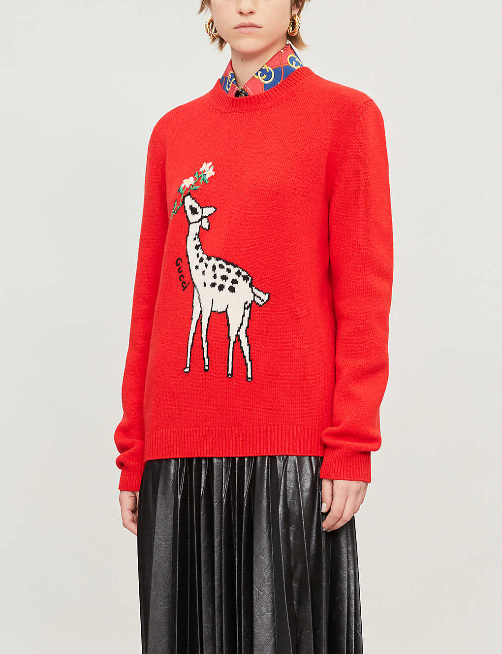 GUCCI: Deer-intarsia wool jumper