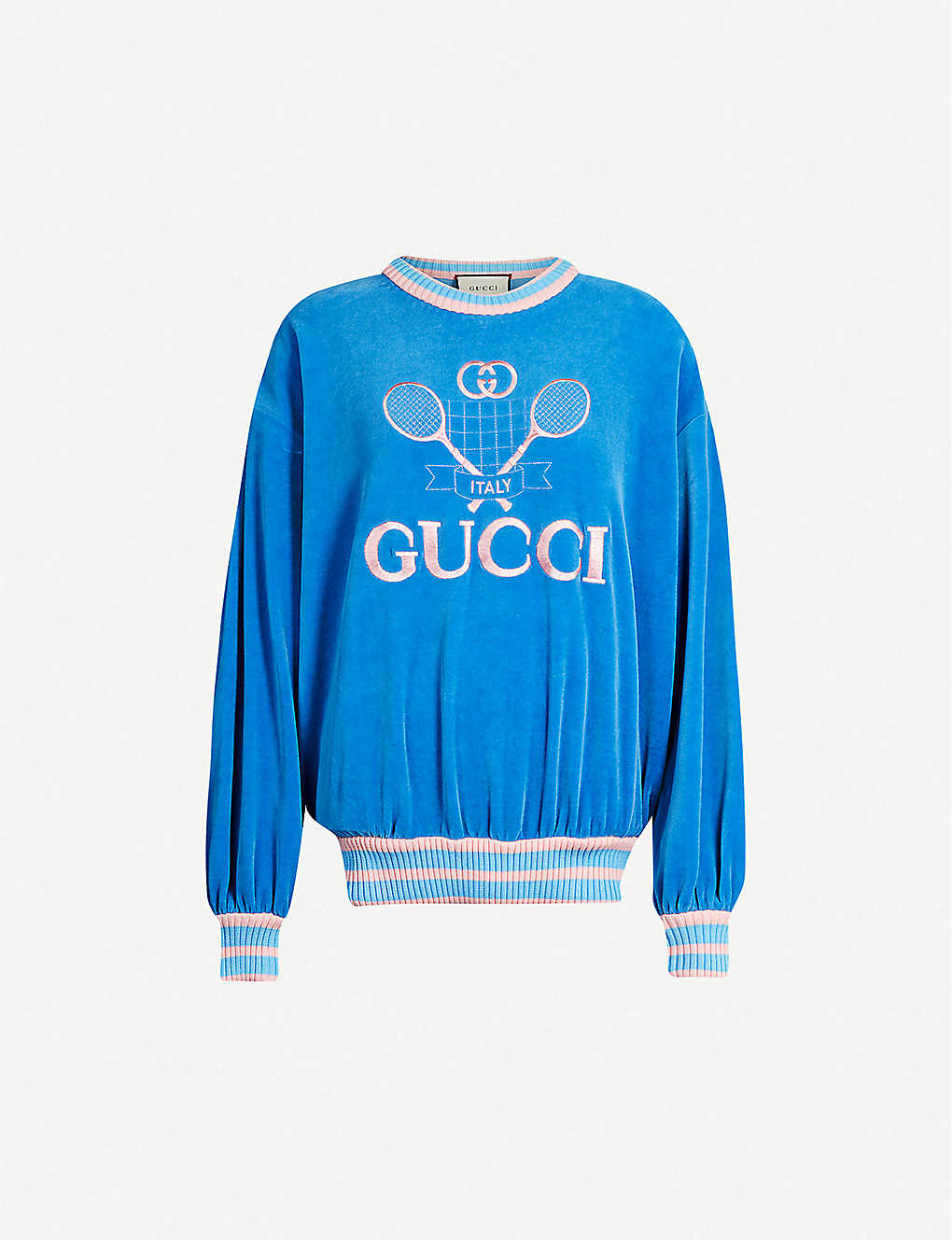 e4661b512 GUCCI - Tennis logo-embroidered chenille sweatshirt | Selfridges.com
