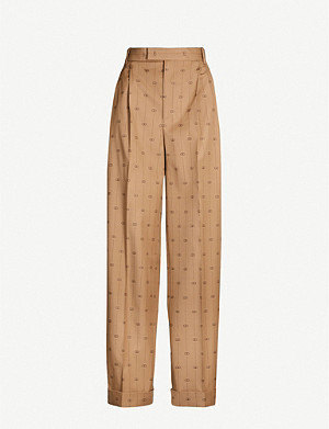 GUCCI Tailored-fit wide wool-silk blend trousers