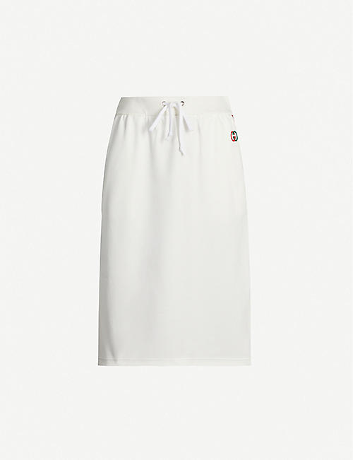 GUCCI Contrast-trim cotton-jersey skirt