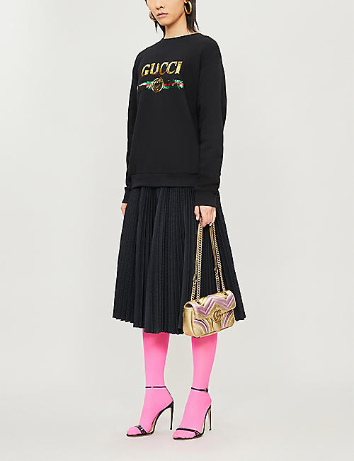 GUCCI Logo tiger-embroidered cotton-jersey sweatshirt