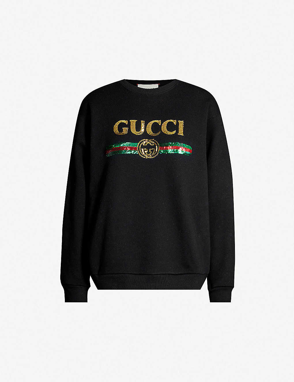 GUCCI: Logo tiger-embroidered cotton-jersey sweatshirt