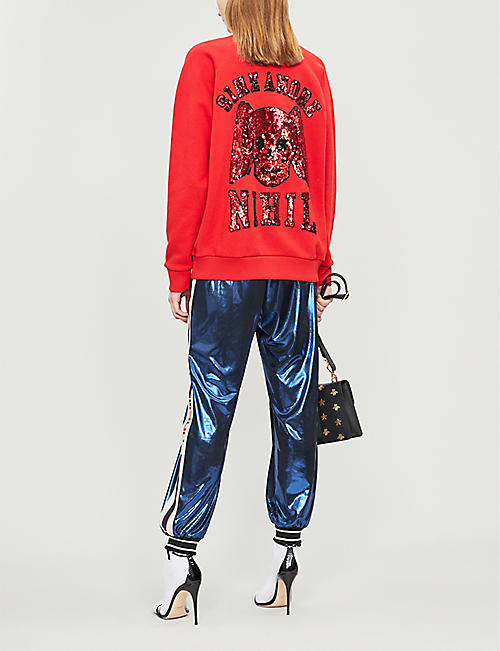 GUCCI Sequin-embellished cotton-jersey sweatshirt
