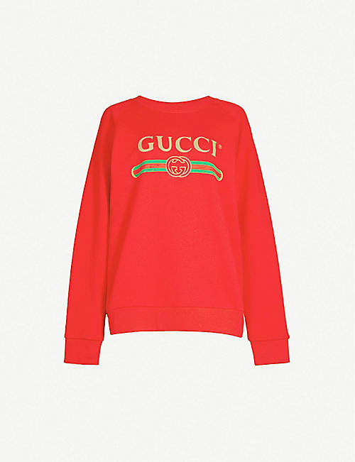 693b46836ef More colours available · GUCCI Sequin-embellished cotton-jersey sweatshirt