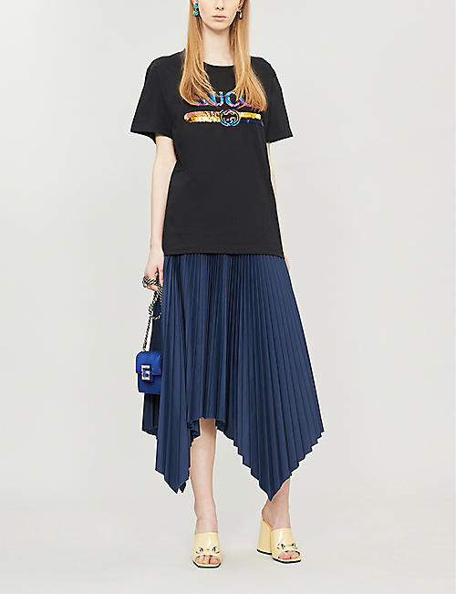 GUCCI Sequin-embellished cotton-jersey T-shirt
