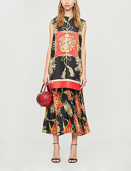 GUCCI Floral-pattern silk midi skirt