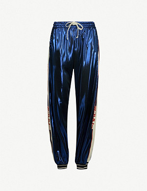 GUCCI Side-stripe metallic lamé jogging bottoms