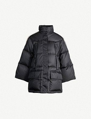 GUCCI Side-stripe shell-down hooded puffer jacket