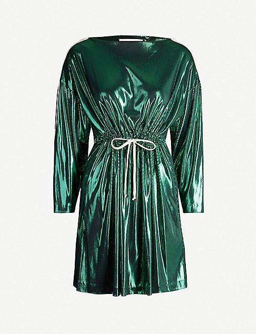 723b42759fc8f GUCCI Logo-tape metallic mini dress