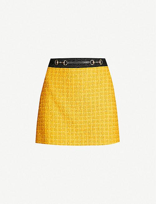 daadfb726ae GUCCI Contrast-trim cotton-tweed mini skirt