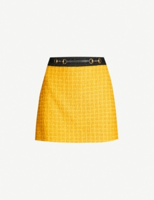GUCCI Contrast-trim cotton-tweed mini skirt