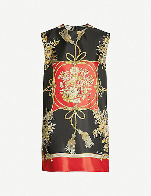 7205afe035d GUCCI Floral-print silk-twill tunic dress
