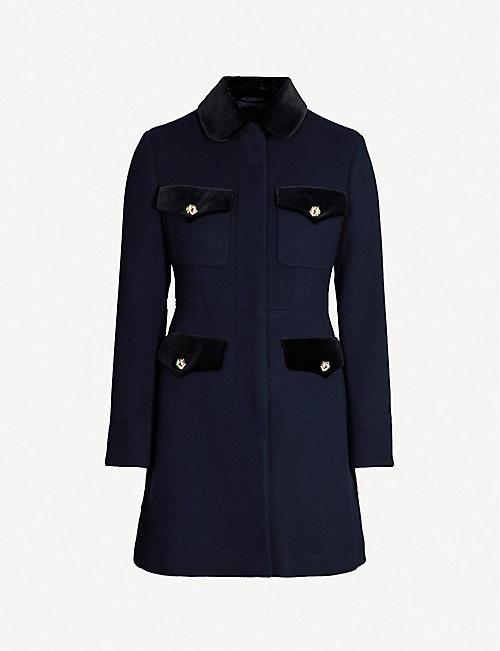 bc1e614d7ffc GUCCI Velvet-trimmed wool-blend coat