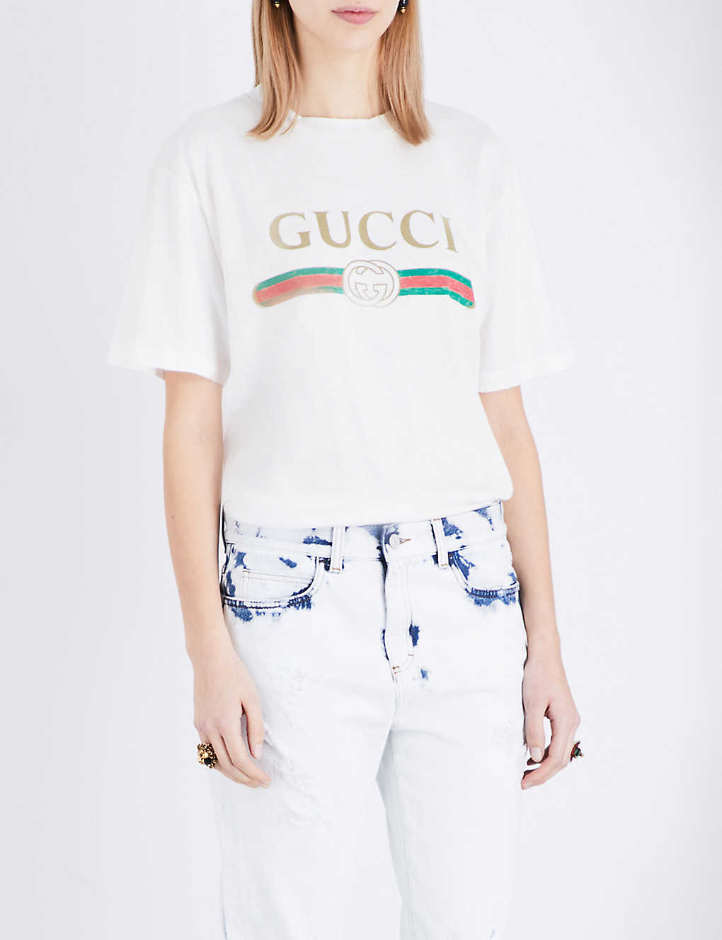 e055ab08 GUCCI - Logo-print cotton-jersey t-shirt | Selfridges.com