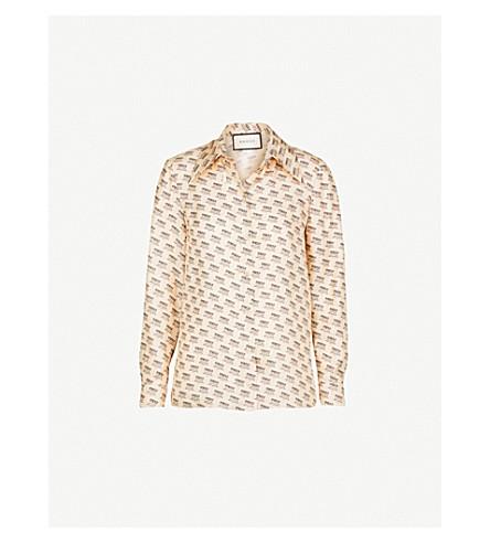 36ab16ff030 GUCCI Invite Stamp silk-twill shirt (Ivory
