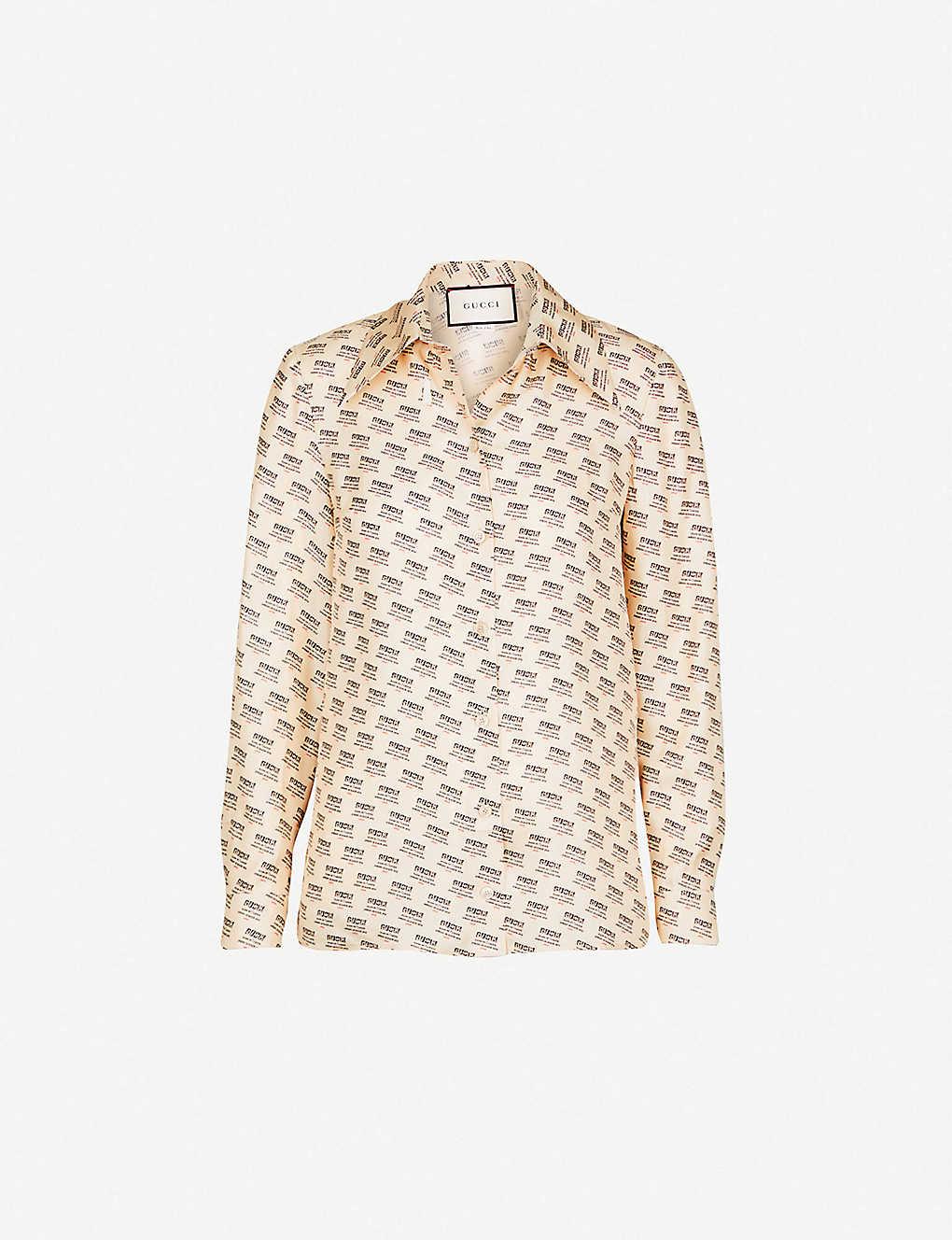 5fb5c855b4e2 GUCCI - Invite Stamp silk-twill shirt | Selfridges.com