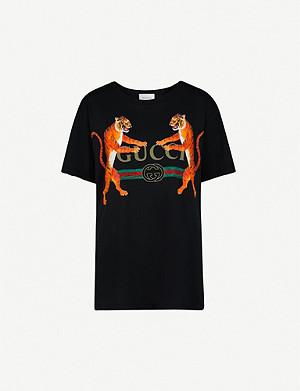 ea9dfd50088 GUCCI - Fake logo-print cotton-jersey T-shirt